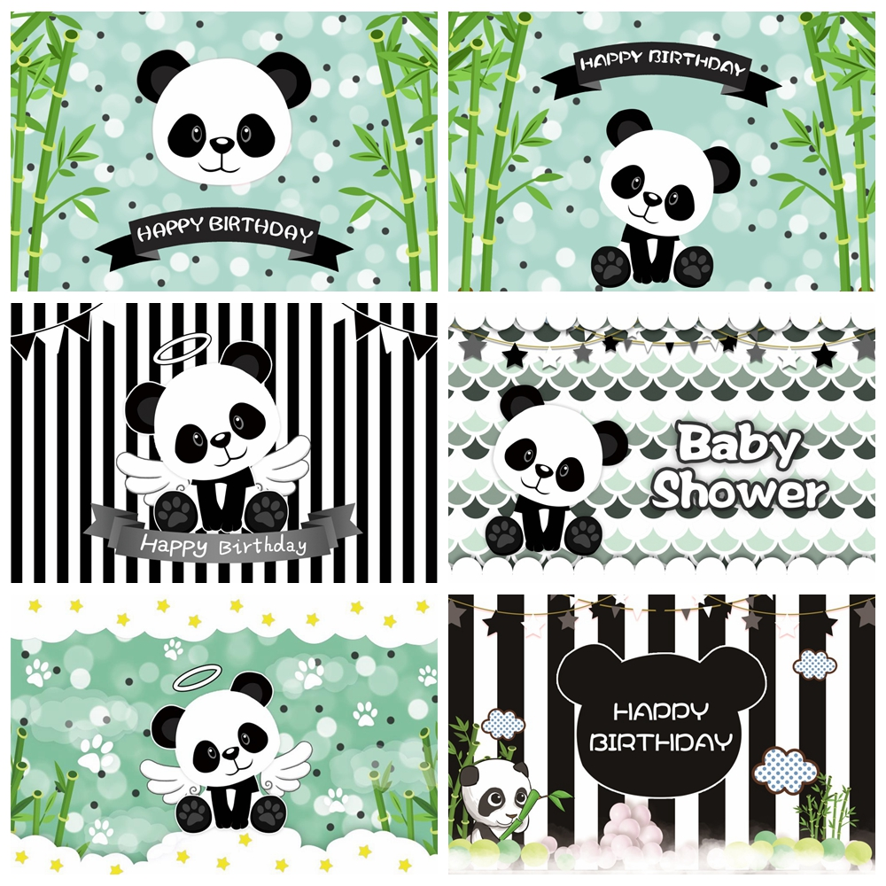 Laeacco panda verde bambus feliz aniversário festa retrato do bebê fotografia backdrops fundos fotográficos para estúdio de fotos