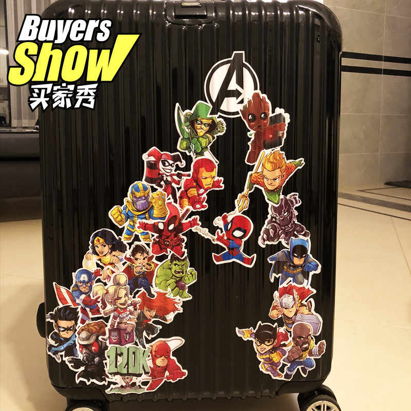 24 estilos vingadores herói bagagem adesivos marvel anime portátil adesivos à prova dwaterproof água pvc decorar skate pegatinas decorar