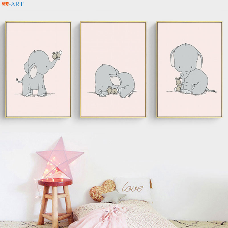 Elephant Bunny Print Cartoon Poster Cute Canvas Painting Pink And Gray Wall Art Baby Girl Room Decoration Picture Nursery Decor Painting Calligraphy Aliexpress