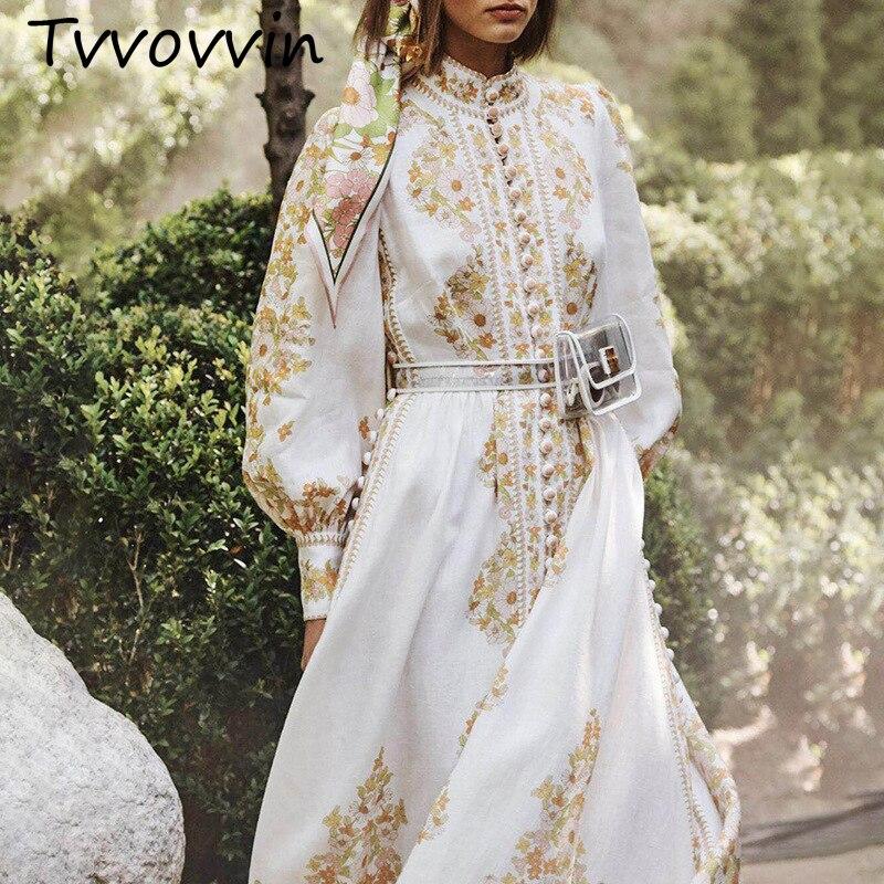 Automne et hiver lanterne manches col montant broderie taille haute évider taille ceintures longue robe femme Vestido C812