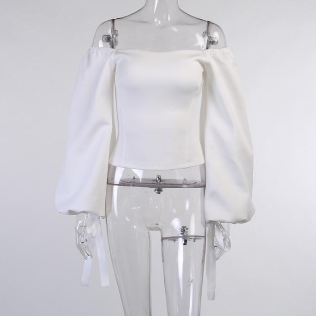 Sexy Off Shoulder Lantern Sleeve Blouse Shirt Women White Elegant Spring Autumn Office Lady Casual Loose Tops Temperament Shirt 3