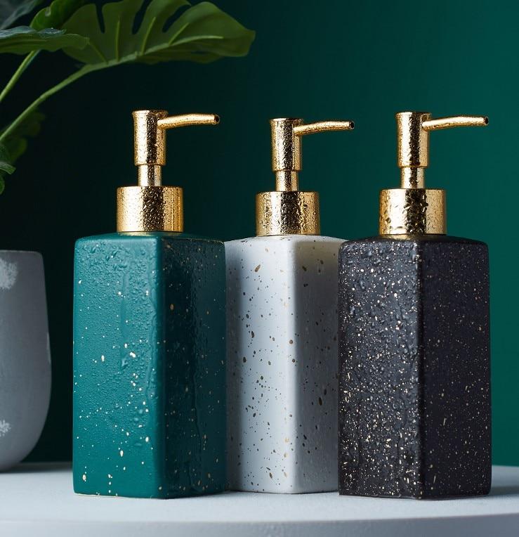 350ml Ceramic Soap Dispenser Hand Sanitizer Bottle Nordic Round Bathroom Accessories Toilet Lotion Bottle Shower Gel Bottle