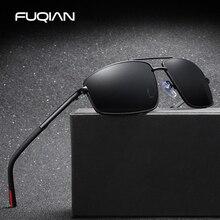 FUQIAN Brand 2019 TR90 Rectangle Polarized Men Sunglasses Fashion Metal Sports Sun Glasses For Male Black UV400