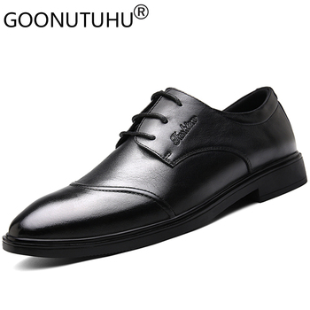 2020 new style men's shoes dress genuine leather classic brown black lace up shoe man office formal shoes for men big size 37-46
