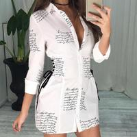 Sexy White Shirt Dress Letters Print Women Lace Up T Shirt Dress Casual Mini Short Autumn Dresses Streetwear Winter Clothing