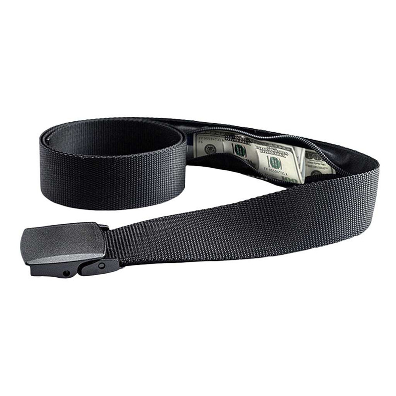 New Travel Hidden Cash Money Belt Bag Anti Theft Waist Packs Casual Nylon Women Men Belt Anti-Theft Wallet Belt Fanny Bags