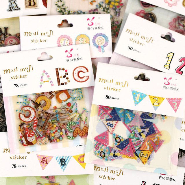 80 Pcs/lot Cute Creative Number Letter Transparent PVC Sticker For Diary Home Decoration DIY Scrapbooking Japanese Stickers