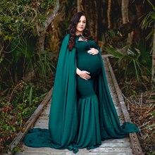 D&J New Long Cloak Cape Dress Sets with 3m Long Train Soft Chiffon Pregnancy Maxi Dress Maternity Photo for Photo Shoot Props