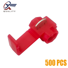 цена на 500Pcs Electrical Wire Cable Crimp Terminals Quick Splice Red Electrical Cable Connectors Fast Lock Wire Terminals Crimp
