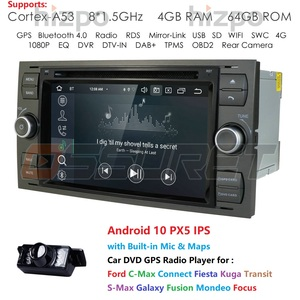 Image 1 - DSP IPS 2din Android10.0 4GB 64GB Car GPS For Ford Mondeo S max Focus C MAX Galaxy Fiesta transit Fusion Connect kuga DVD Player