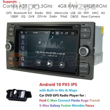 DSP IPS 2din Android10.0 4GB 64GB GPS de voiture pour Ford Mondeo s max Focus C MAX Galaxy Fiesta transit Fusion connecter lecteur DVD kuga
