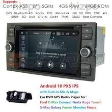 Dsp ips 2din android10.0 4gb 64gb gps do carro para ford mondeo s max foco C MAX galaxy fiesta transit fusão conectar kuga dvd player