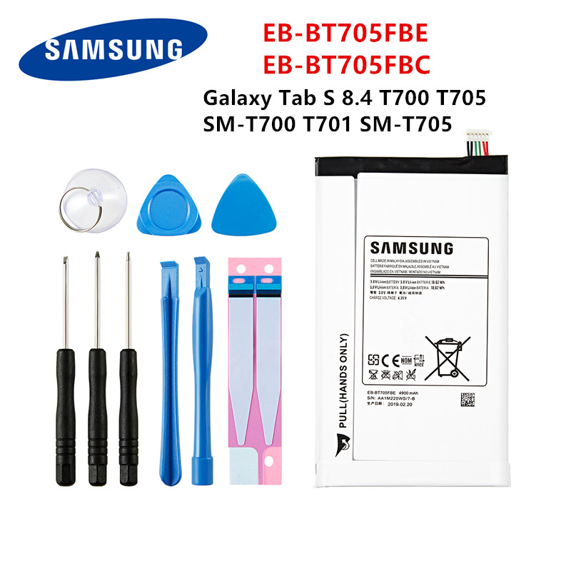 SAMSUNG Orginal Tablet EB-BT705FBE EB-BT705FBC 4900mAh Battery For Samsung Galaxy Tab S 8.4 T700 T705 T700 T701 SM-T705 +Tools
