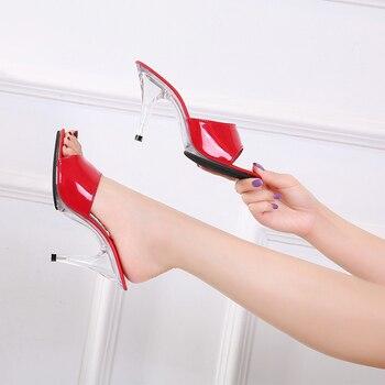 ¡Novedad de 2020! Zapatillas de mujer, zapatos de tacón alto sexis a la moda de 7/10CM, zapatos de mujer, zapatos de tacón claros con punta abierta, zapatillas divertidas para fiesta en club nocturno
