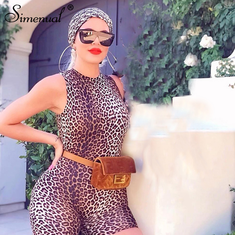 Simenual Leopard Sleeveless Bodycon Biker Playsuits Sexy Fashion Hot Fitness Workout Basic Slim Rompers Womens   Jumpsuit   Skinny