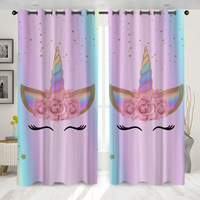 Denisroom 3D Unicorn Printing Window Curtains Modern Living Room Decoration Shading Curtain for Girl Bedroom Home Decor HG99*