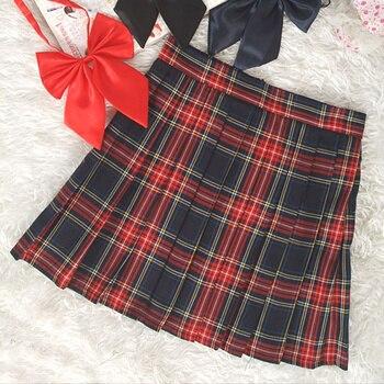 Preppy Style High Waist  Pleated Skirts Women Korean A-Line Short Skirts Uniforms School Kawaii Tartan Plaid Skirt Saias  6