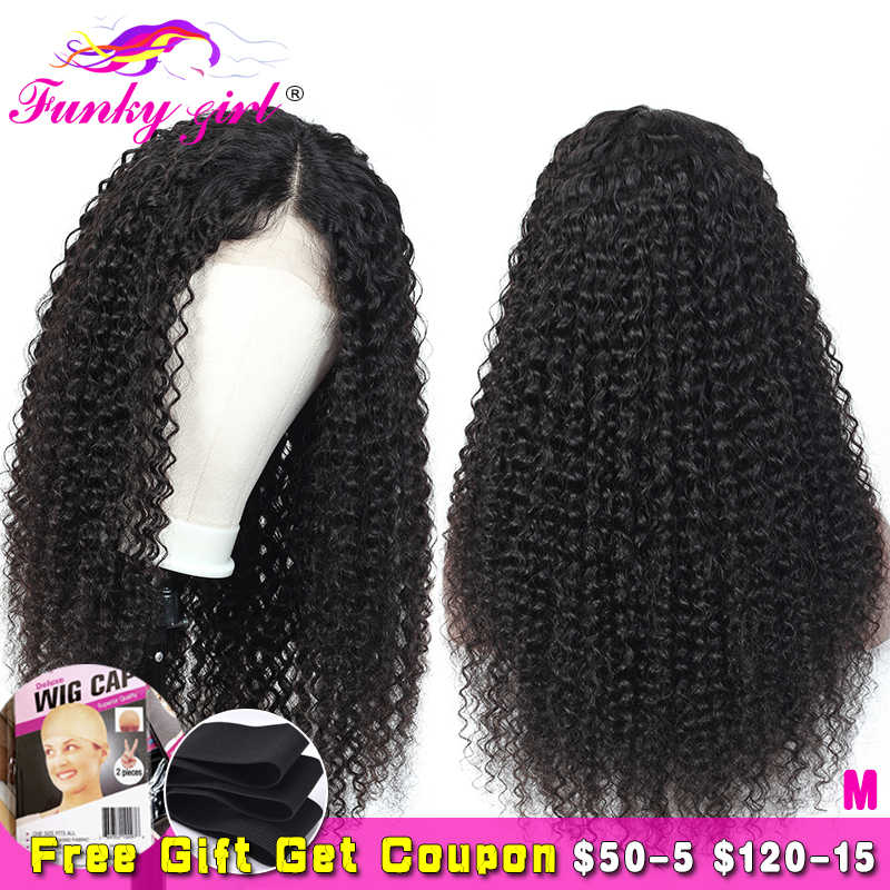 Kinky Curly Wig Glueless 13x4 Lace Frontal Wig 8-26'' Peruvian Remy 13x6 Lace Front Human Hair Wigs Pre Plucked For Black Women