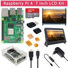 Raspberry Pi 4 Modell B 2 4 8 GB RAM + 7 zoll Touch Screen + Halter + 64 32 GB SD Karte + Fan + Power + HDMI Kabel für RPi 4 B