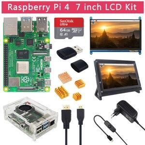 Image 1 - Raspberry Pi 4 modèle B 2 4 8 GB RAM + écran tactile 7 pouces + support + carte SD 64 32 GB + ventilateur + alimentation + câble HDMI pour RPi 4 B