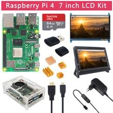 Raspberry Pi 4 modello B 2 4 8 GB di RAM + Touch Screen da 7 pollici + supporto + 64 scheda SD da 32 GB + ventola + alimentazione + cavo HDMI per RPi 4 B