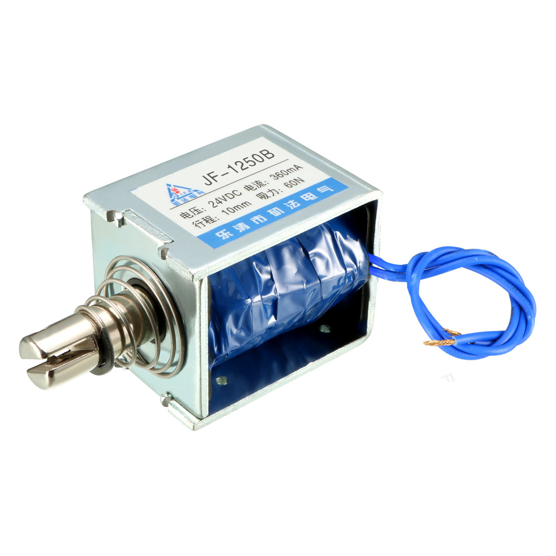Uxcell JF-1250B DC 24V 360mA 60N 10mm Pull Push Type Open Frame Linear Motion Solenoid Electromagnet