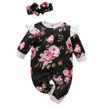 Get more info on the 2019 Fashion Infant Newborn Baby Boys Girls Floral Print Romper Jumpsuit Headband Outfits Set