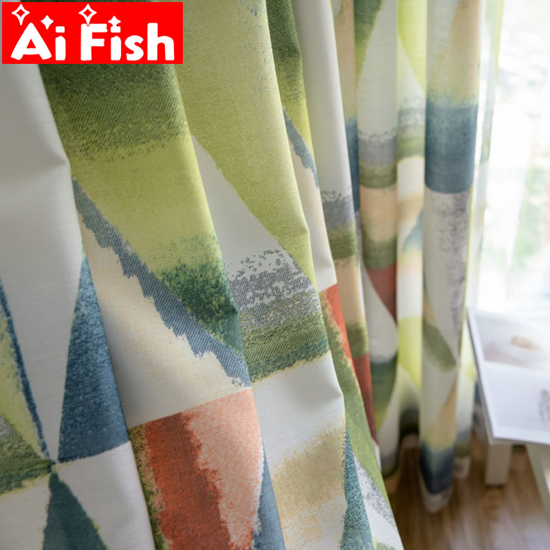 American Country Velvet Linen Printing Blackout Bedroom Curtains Geometric Abstract Figure Tulle Curtains For Living Room M188#5