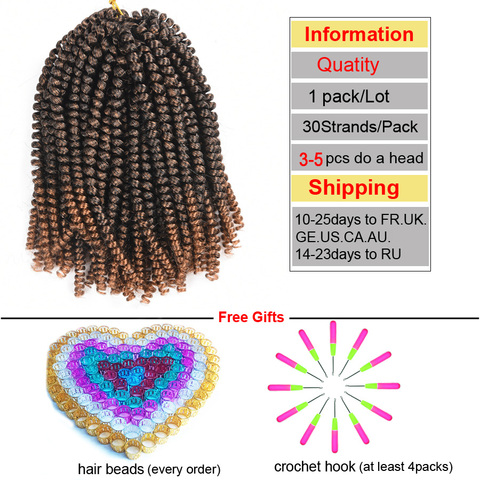 TOMO 8Inch Crochet Braids Ombre Spring Twist Hair Kanekalon Synthetic Hair Extensions Braids Kinky Curly Twists 30Roots Islamabad