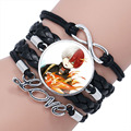 Кожаный браслет с Аниме Boku, многослойный Плетеный браслет с кабошоном «Моя геройская Академия»