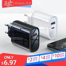 Kuulaa usb carregador 36w carga rápida 4.0 pd 3.0 usb tipo c carregador rápido para iphone xiaomi portátil carregador do telefone móvel adaptador