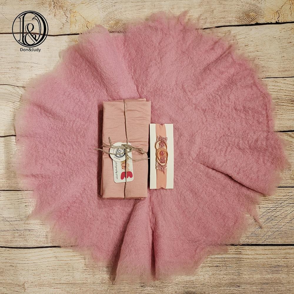 Don&Judy New 100% Wool Blanket+Wrap+Headband Soft Wool Felt Fleece Basket Filler Newborn Baby Photography Studio Props