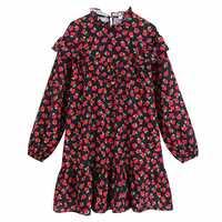 2019 nouvelles femmes doux en cascade volants rouge floral imprimé décontracté mini robe femme droite vestidos ourlet volants robes DS2834