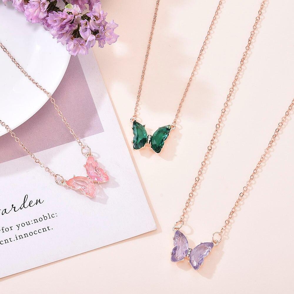 2020 neue Koreanische Super Fee Mädchen Fantasie Glas Kristall Schmetterling Anhänger Halskette Weibliche Schlüsselbein Kette Beliebte Halskette