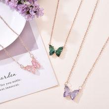 Collier fille Super féerique coréenne, fantaisie, pendentif papillon en verre, chaîne clavicule, populaire, 2020