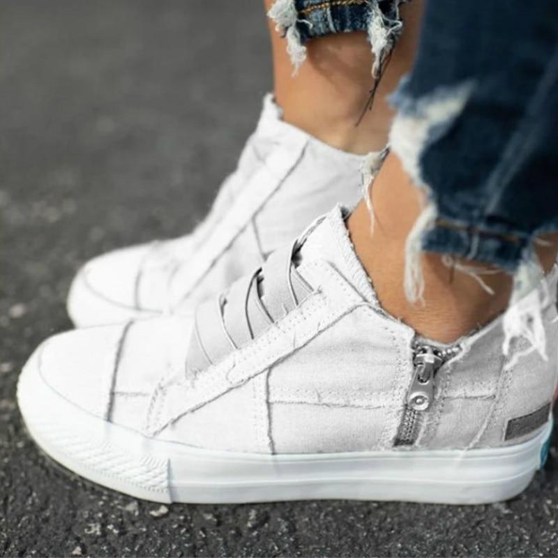 Spring/Autumn Women Vulcanize Canvas Sneaker Flat Heel Platform Round Toe 2020 New Casual Fashion Ladies Shoes Zapatos De Mujer
