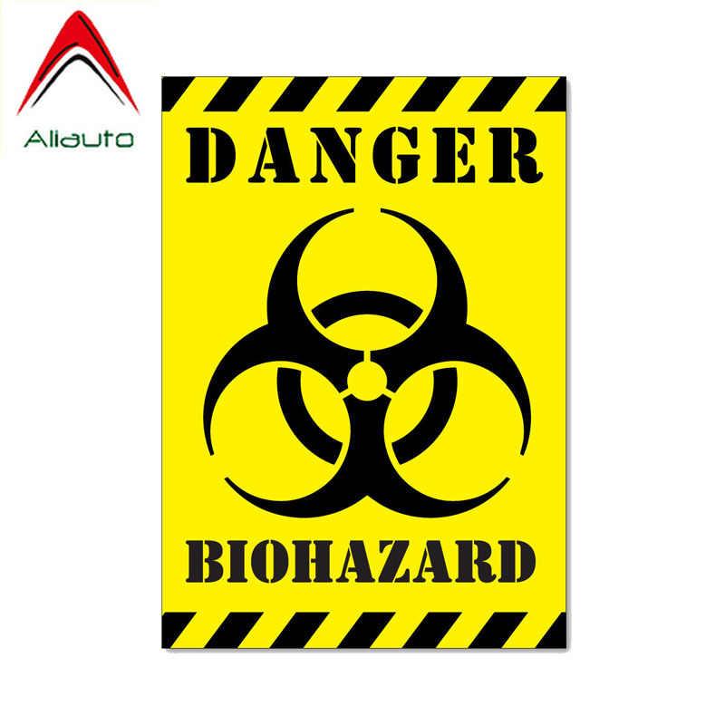 Aliauto Warnung Auto Aufkleber Gefahr Biohazard Zombie Aufkleber für Volkswagen Peugeot Mini Cooper Mitsubishi Lada Vesta, 12cm * 17cm