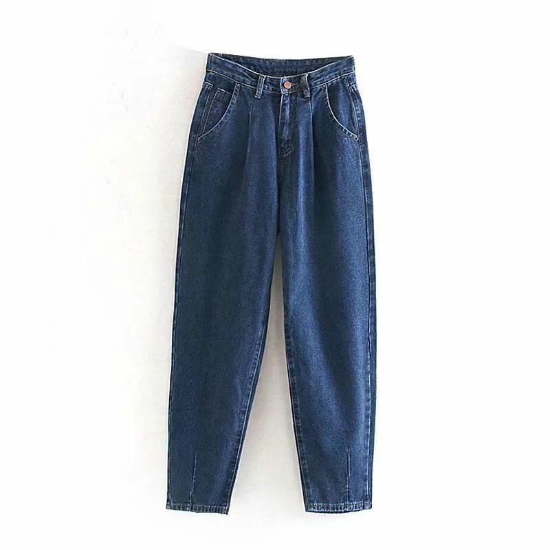 Jeans Woman 2019 Loose Casual Harem Pants Boyfriends Mom Jeans Streetwear Denim Pants Women Pleated Trousers Slouchy Jeans Femme