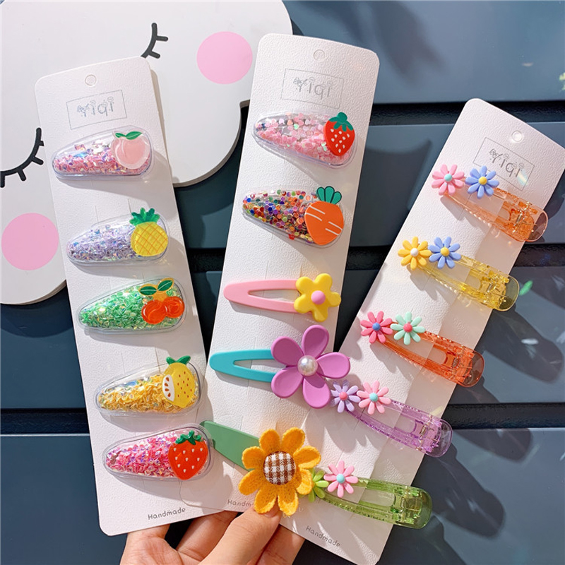 5Pcs/Set Girls Cartoon Animals Headwear Set Candy Color PVC Transparent Fruit Hairpins Children Hair Clips Kids Hair Accessories