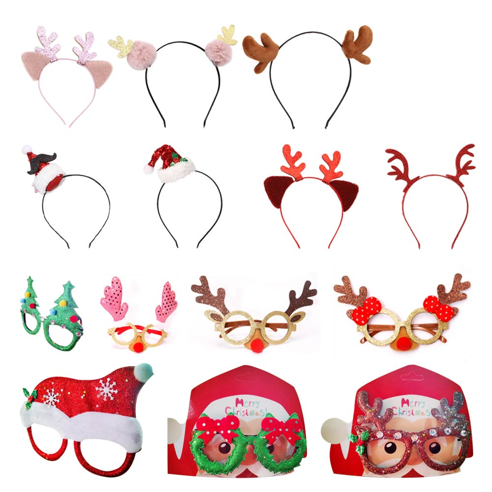 6/8/14 Pcs Christmas Glasses Frame Xmas  Headband Hairpin Christmas Headdress Hairband Christmas Gifts Party Cristmas Decoration