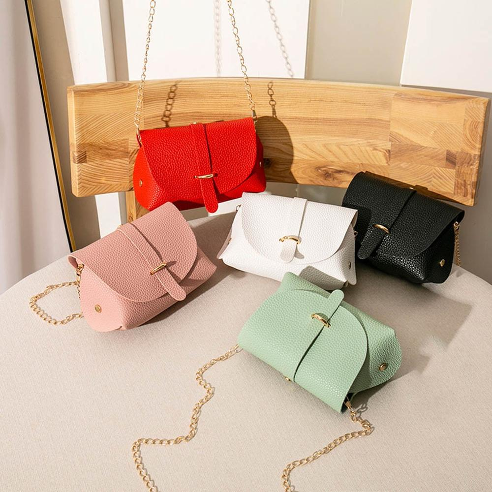 Fashion Women Cross Body Bag Solid Color Leather Small Shoulder Bag Simple Women Flap Cover Bag Purse Phone Messenger Bag #15