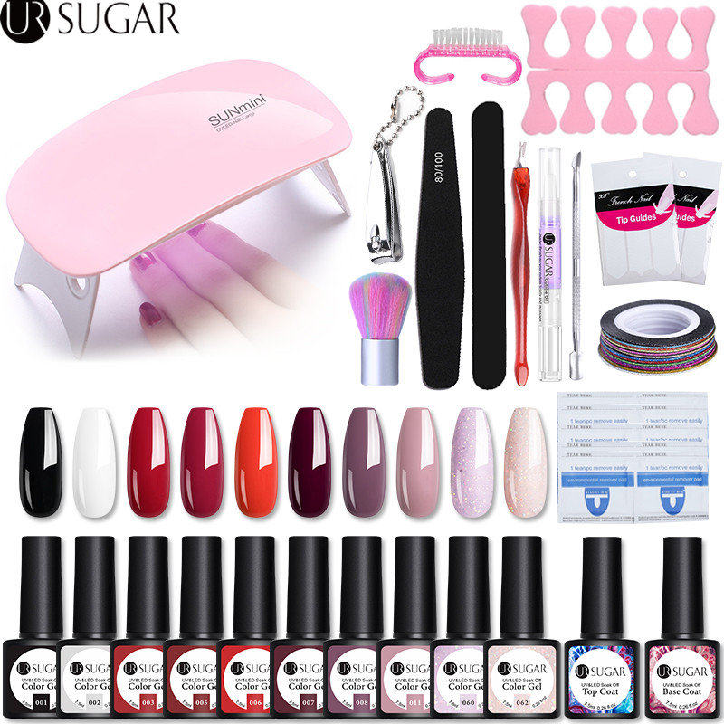 UR SUGAR Gel Polish Nail Art Manicure Tools Kit UV LED 6W Nail Lamp Dryer Colors Gel Nail Polish DIY Tools Nail Set Gel Varnish