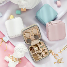 10*10*5cm portátil caixa de jóias organizador exibição caixa de jóias de viagem caixas de armazenamento de couro joyeros organizador de joyas
