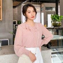 Autumn Korean Fashion Chiffon Women Blouses Ruffles Pink Womens Tops and Plus Size XXL Long Sleeve Shirts