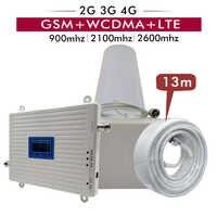 2G 3G 4G triple banda de refuerzo GSM 900MHz + UMTS WCDMA 2100 (banda 1) + FDD LTE 2600 (banda 7) repetidor de señal para teléfono móvil amplificador completo conjuntos
