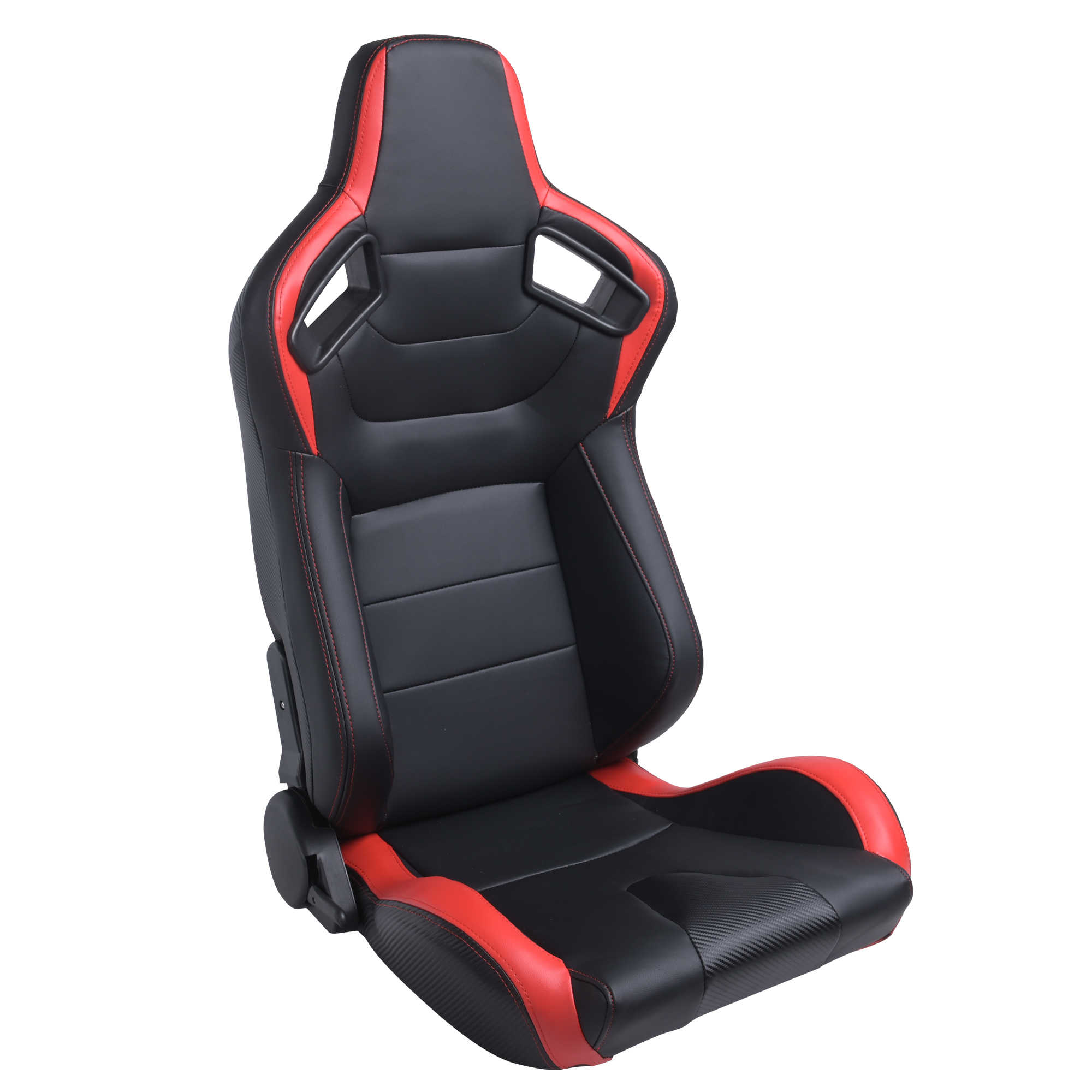 FULL RECLINABLE RED STITCHING WOVEN CLOTH BUCKET RACING SEAT PASSENGER SIDE