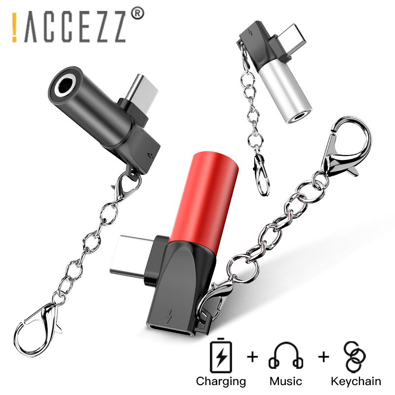 !ACCEZZ Phone Adapter USB Type C For Xiaomi Mi9 Note 7 Huawei P30 3.5mm Earphone Jack Aux Connector Charging Converter Keychain