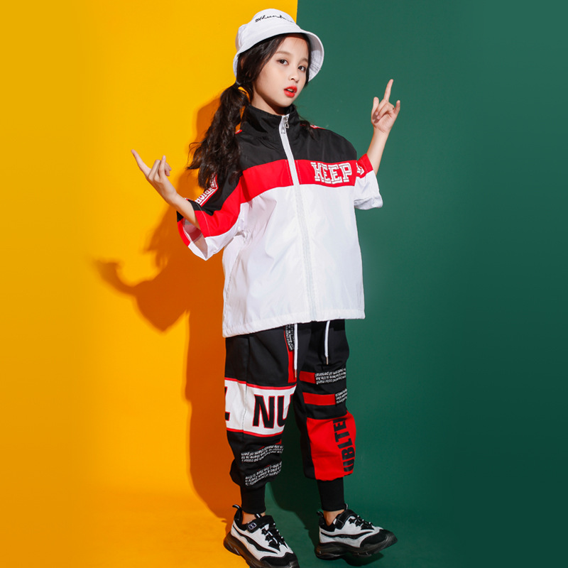 Kid Fashion Cool High Neck Jacket Pullover Top T Shirt Letters Running Casual Pants For Girl Boy Jazz Dance Costume Clothes Wear