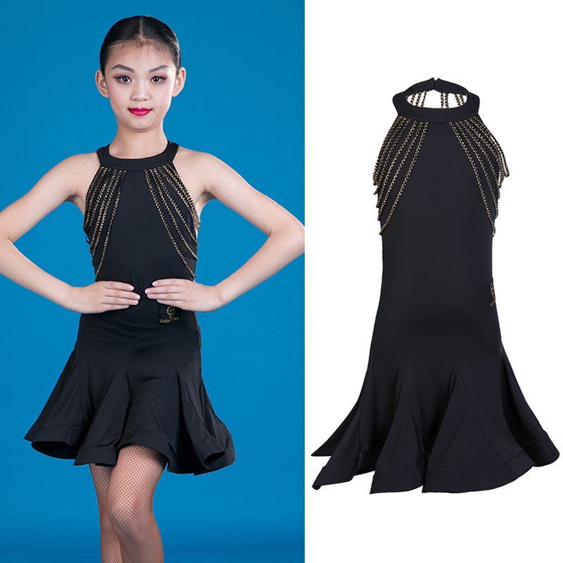2019 Kids Dresses For Girls Latin Dance Competition Costume Sleeveless Salsa Dress Cha Cha Performance Sexy Fringe Dress BL2499