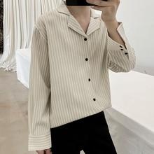 Selfie Wind *19 Autumn Stripe Easy Lapel Joker Long Sleeve Shirt C08 -p45.